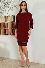 Нарядное приталенное платье декорировано кружевной тесьмой, фото 2