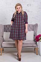 Платье А-силуэта в популярный принт-клетка, с карманами по бокам