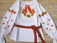 Детская вышиванка для девочки (домотканое полотно)