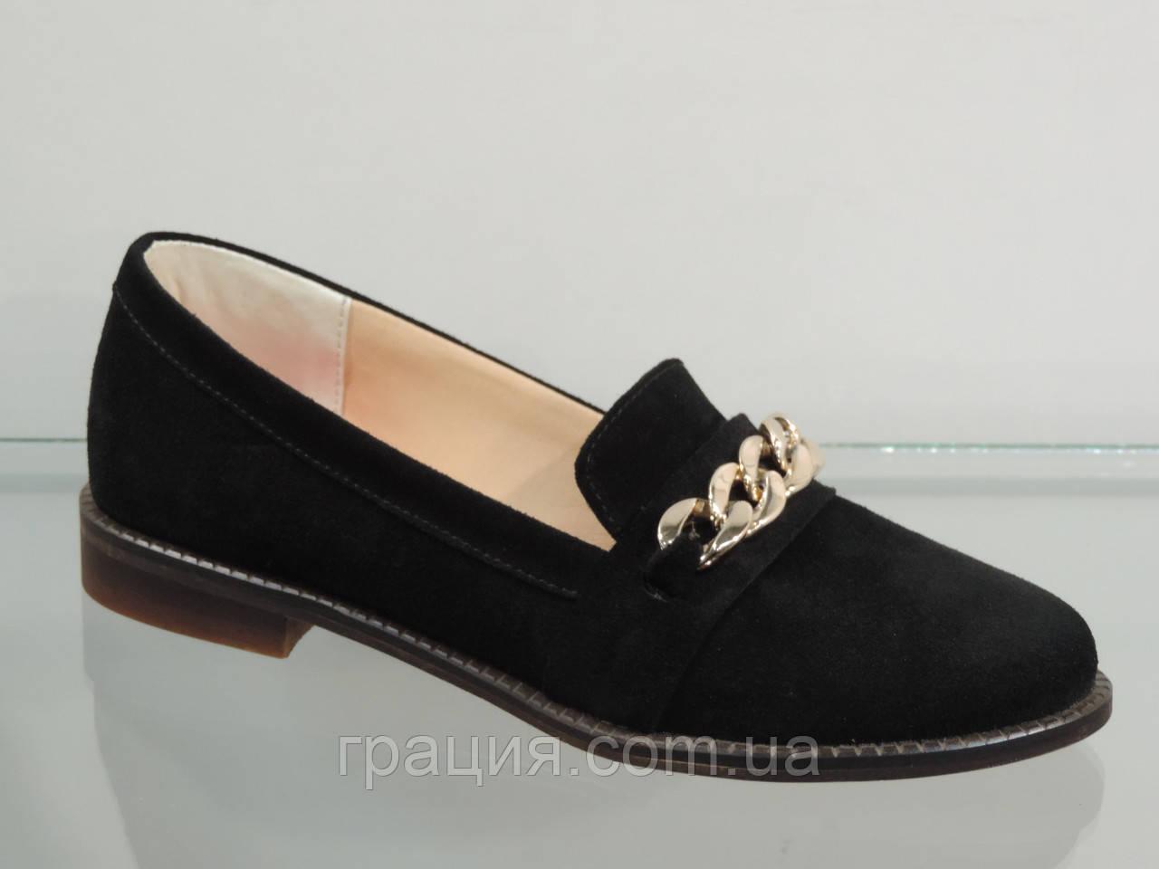 Стильні жіночі туфлі натуральна замша