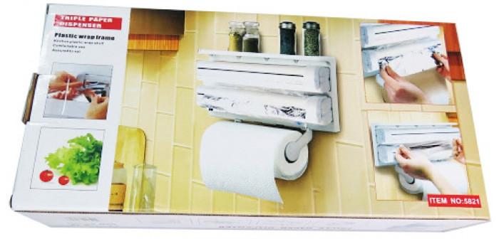 Кухонний диспенсер для плівки, фольги і рушників Kitchen Roll Triple Paper Dispenser - фото 5