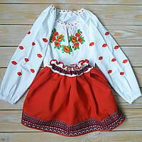 """Украинская вышиванка для девочки с длинным рукавом """"Маки"""", фото 1"""