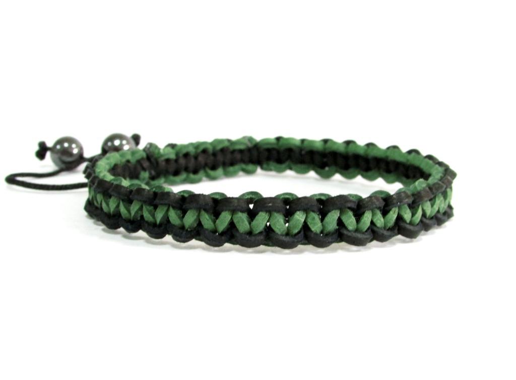 Браслет из кожи. Черный + зеленый. Шамбала