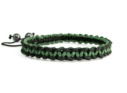 Браслет из кожи. Черный + зеленый. Шамбала, фото 2