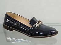 Стильные женские туфли лак-кожа натуральная темно-синие