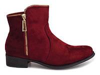 Модные женские ботинки из замша на змейке