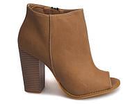 Женские ботинки на каблуке с открытым носком размеры 35-40 маломерки