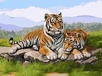 Картина-раскраска Турбо Тигриное семейство (VK032) 30 х 40 см