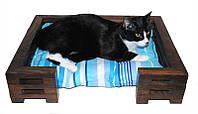 Лежак для кота и собаки Lukoshko Brown с матрасиком Sonno Blue