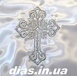Крижма для хрещення з вишитим срібним хрестиком, фото 2