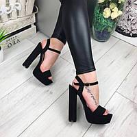 Женские босоножки на устойчивом каблуке 14 см, эко замша, черные /  босоножки  женские, стильные