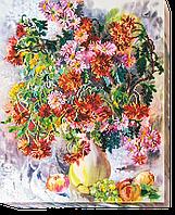 Набор для вышивания бисером на художественном холсте Хризантемы
