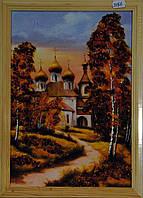 Картина украшена янтарем 21х30см. Пейзаж