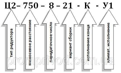 Условное обозначение редуктора Ц2-750