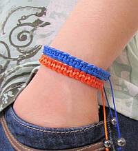 Набор. Браслеты из кожи. Синий и оранжевый. Шамбала