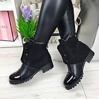 Женские ботинки, каблук 3 см, эко кожа + эко замша, черные / ботинки  женские 2017, стильные 41