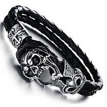 Винтажный кожаный браслет «Black Brilliant» 20 см черный