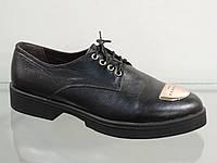 Туфли молодежные кожаные на шнуровке