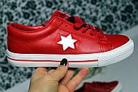 """Кеды женские """"Звезда"""" красные с белой звездой"""