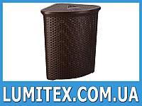 Угловая корзина пластиковая для белья в ванну Ротанг 50 л