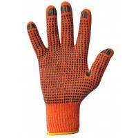 Перчатки рабочие с ПВХ точкой оранжевые