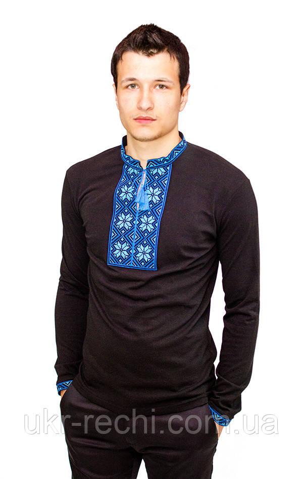 Чорна футболка з довгим рукавом, вишита хрестиком «Народна»-1