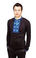 Чорна футболка з довгим рукавом, вишита хрестиком «Народна»-1, фото 1