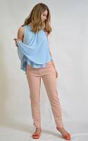Укороченные лёгкие женские брюки, цвет пудра, 12215 MEES Турция, фото 1