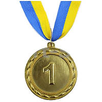 Медаль спортивная футбольная Ability d-6,5см C-4841-1 место 1-золото (металл, d-6,5см, 38g, на ленте)