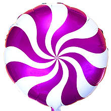 1202-2106 Фольгированный шар карамелька малиновая 44 см