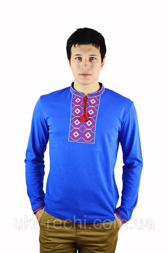 Синя футболка з довгим рукавом, вишита хрестиком «Ромби»-2