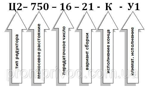 Условное обозначение редуктора Ц2-16