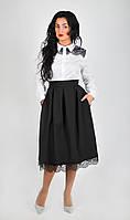 Классическая пышная юбка черного цвета, с завышенной талией и кружевом по низу