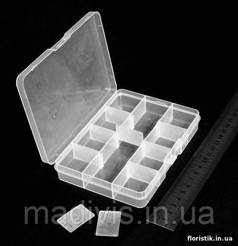Коробочка, бокс органайзер для фурнитуры, бисера и бусин 12 отдел. (13,7 х 10 х 2,5 см.)