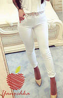 Женские белые обтягивающие штаны. Материал коттон стрейч. Размер 50-52,54-56