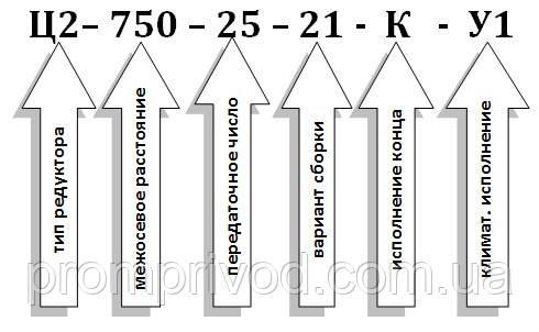 Условное обозначение редуктор Ц2-750