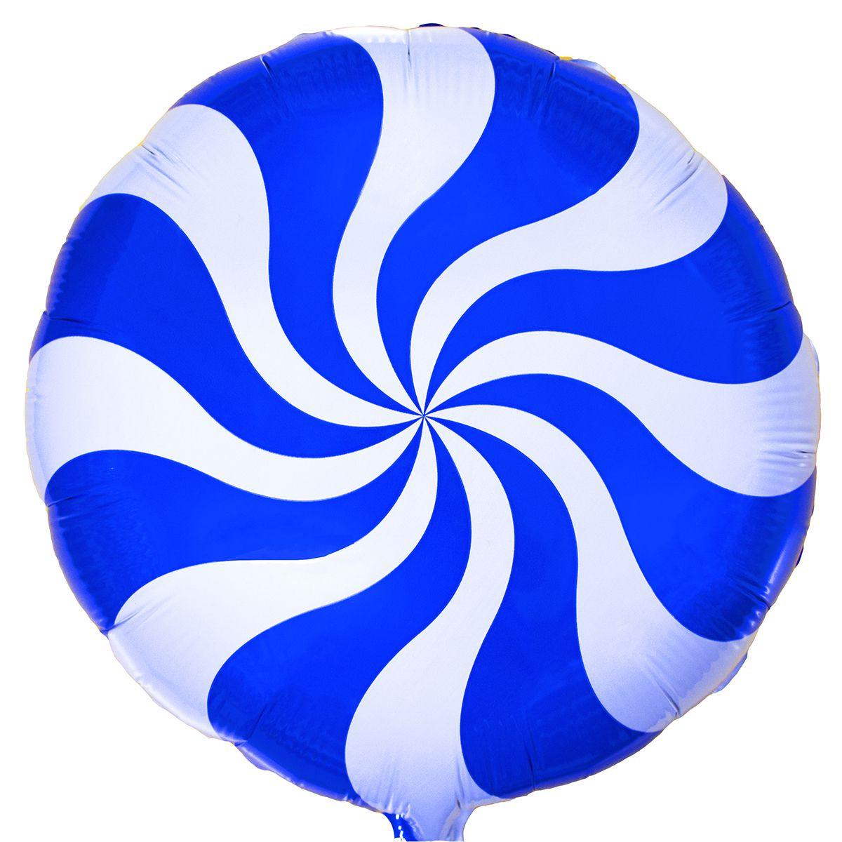 Фольгированный шар карамелька голубая 44 см (гелий)