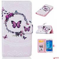 "Чехол Книжка Для Samsung Galaxy J5 J500 "" Wreath and butterflies"""
