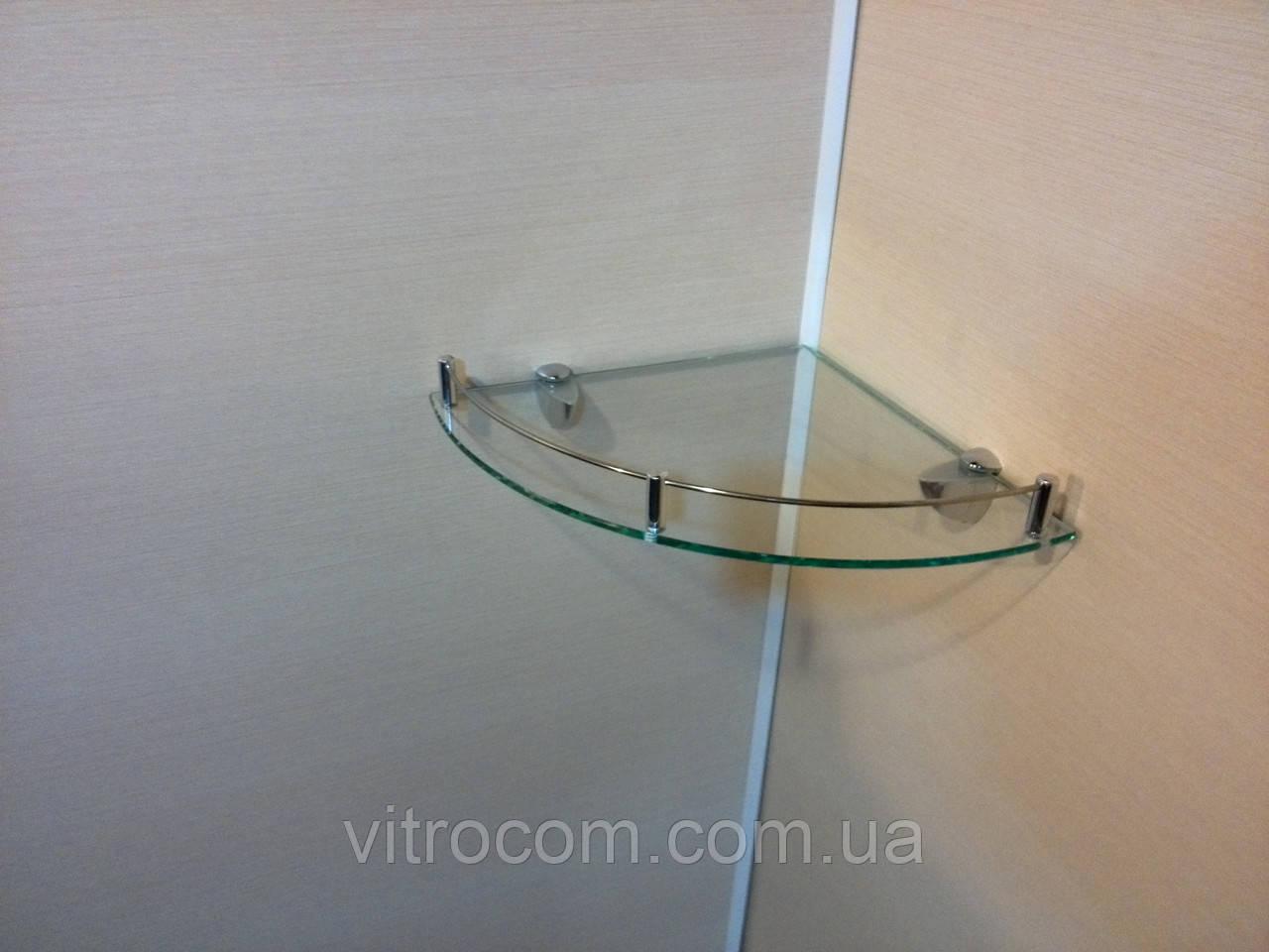 Полка с бортиком стеклянная угловая 6 мм прозрачная 25 х 25 см