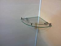 Полка с бортиком стеклянная угловая 6 мм прозрачная 25 х 25 см, фото 1