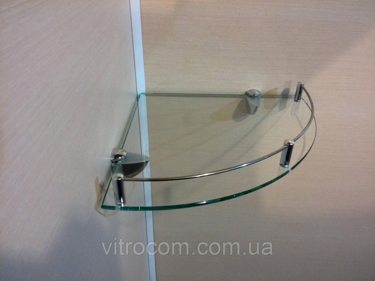 Полка с бортиком стеклянная угловая 5 мм прозрачная 25 х 25 см