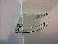 Полка с бортиком стеклянная угловая 5 мм прозрачная 25 х 25 см, фото 1