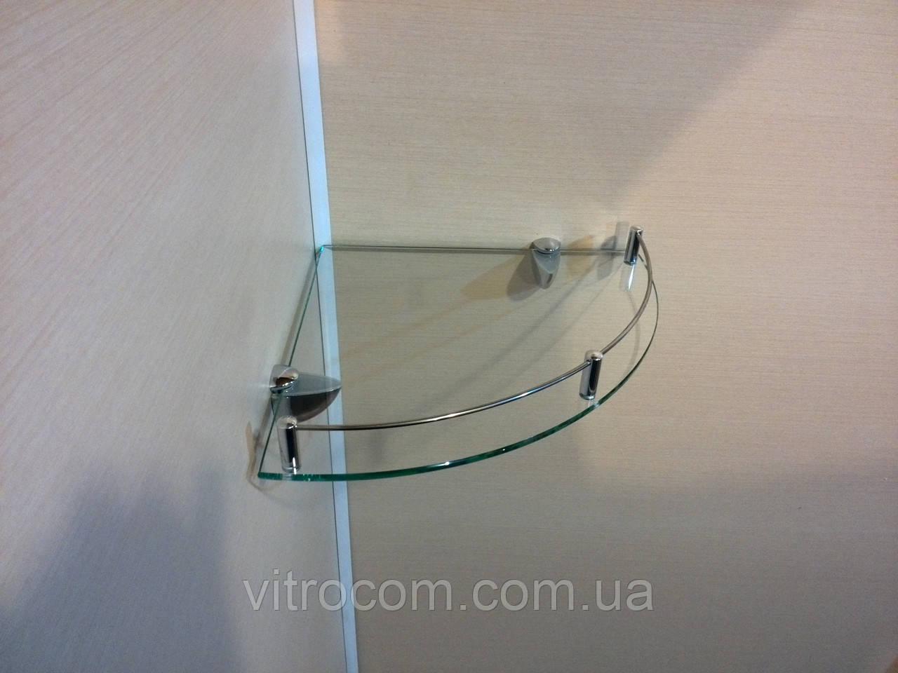 Полка с бортиком стеклянная угловая 5 мм прозрачная 30 х 30 см