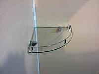 Полка с бортиком стеклянная угловая 5 мм прозрачная 30 х 30 см, фото 1