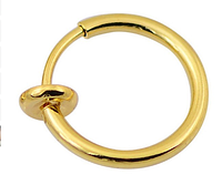Cерьга кольцо обманка позолота для пирсинга (носа,ушей,губ) с фиксатором