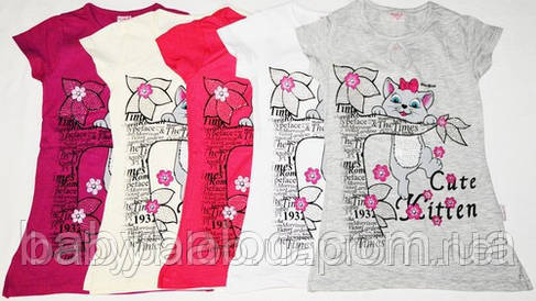 Двухсторонняя туника-футболка на подростока Кошка слёзка  (от 5 до 8 лет) , фото 2