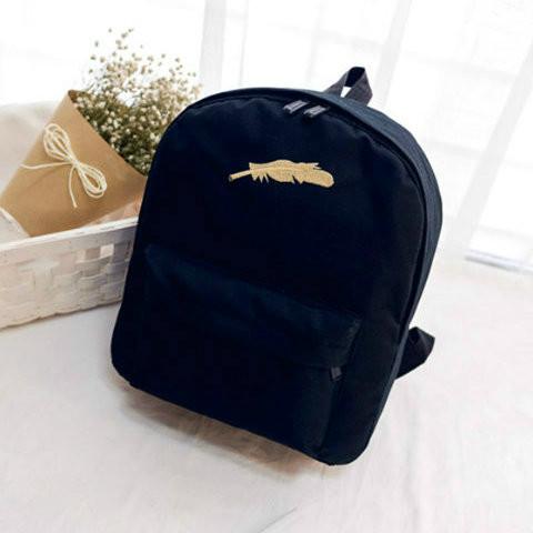 рюкзак с принтом перья