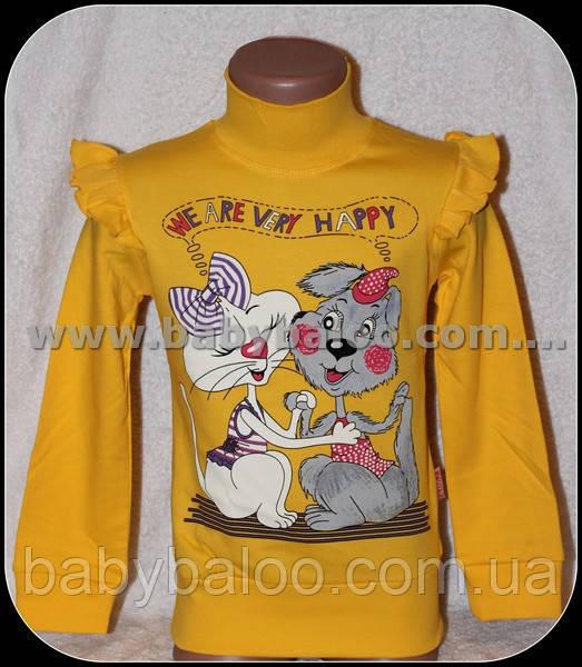 """Гольф-стойка детский девочка""""кошка с собачкой""""(рост от 104 см до 128см) начёс"""