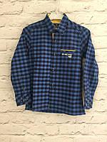 Рубашка приталенная в клеточку для мальчиков  5-8