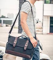Стильный мужской тканевый портфель-сумка ручкой. Размер 41-26-11 см.Черная.